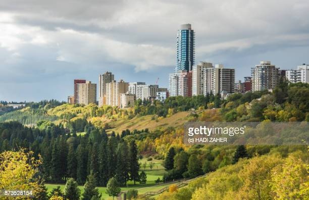 edmonton cityscape and river valley | alberta | canada - alberta stock pictures, royalty-free photos & images