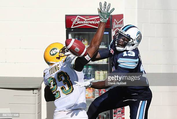 TORONTO ON AUGUST 20 Edmonton Eskimos defensive back Marcell Young interferes withToronto Argonauts wide receiver Kevin Elliott in the end zone...