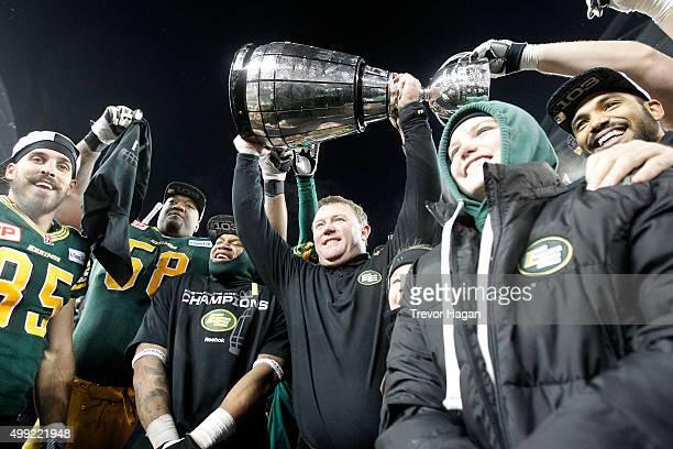 Edmonton Eskimos head coach Chris Jones celebrating after winning Grey Cup 103 against the Ottawa Redblack at Investors Group Field on November 29,...