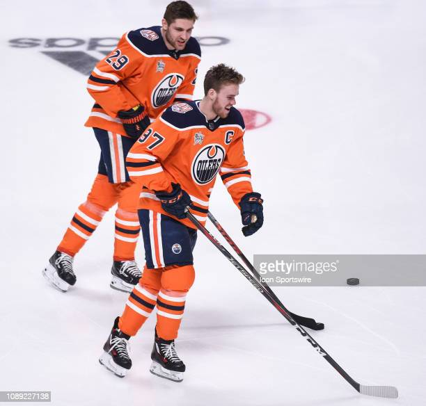 Edmonton Oilers center Connor McDavid and teammate winger Leon Draisaitl during the NHL AllStar Skills Competition at the SAP Center on January 25...