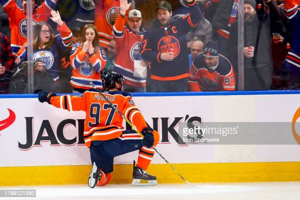 Edmonton Oilers Center Connor McDavid celebrates a goal in the first period during the Edmonton Oilers game versus the San Jose Sharks on February,...