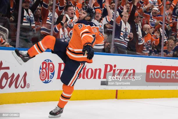 Edmonton Oilers Center Connor McDavid celebrates during the Edmonton Oilers game versus the Calgary Flames at Rogers Place in Edmonton AB
