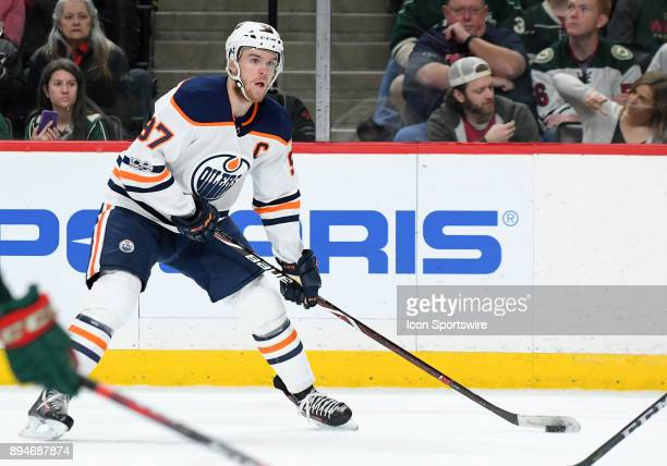 Edmonton Oilers Center Connor McDavid looks to pass during a NHL game between the Minnesota Wild and Edmonton Oilers on December 16 2017 at Xcel...