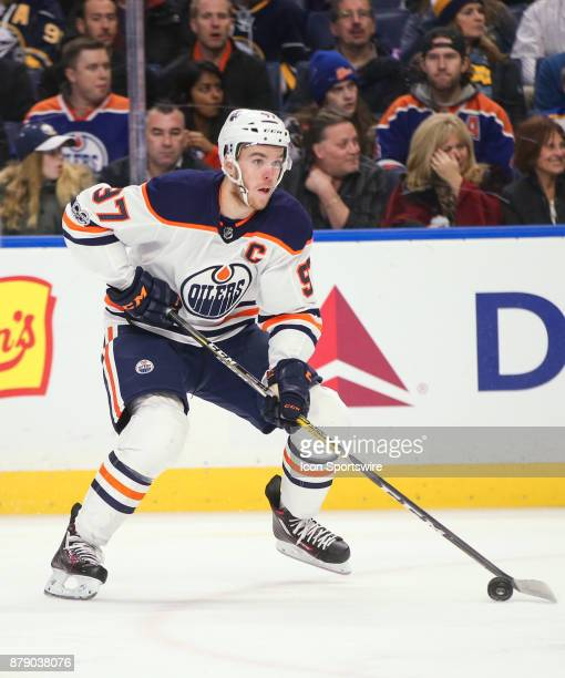 Edmonton Oilers center Connor McDavid looks to pass during an NHL game between the Edmonton Oilers and Buffalo Sabres on November 24 at the First...