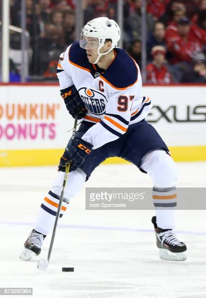 Edmonton Oilers center Connor McDavid readies a pass during a NHL game between the Washington Capitals and the Edmonton Oilers on November 12 at...