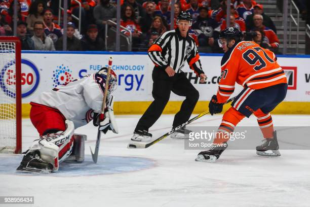 Edmonton Oilers Center Connor McDavid scores his one hundred and first point on Columbus Blue Jackets Goalie Sergei Bobrovsky in the first period...