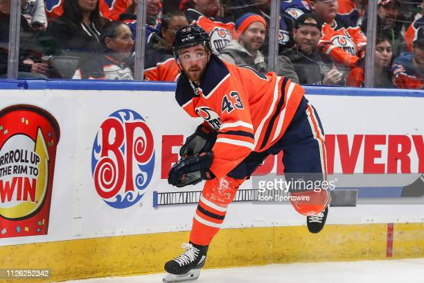 Edmonton Oilers Center Josh Currie in game action in the first period during the Edmonton Oilers game versus the Arizona Coyotes on February 19 2019...
