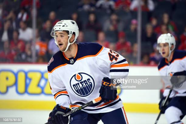 Edmonton Oilers Center Josh Currie looks on during the first period of an NHL game where the Calgary Flames hosted the Edmonton Oilers Monday...