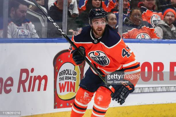 Edmonton Oilers Center Josh Currie watches the play in the first period during the Edmonton Oilers game versus the Arizona Coyotes on February 19...