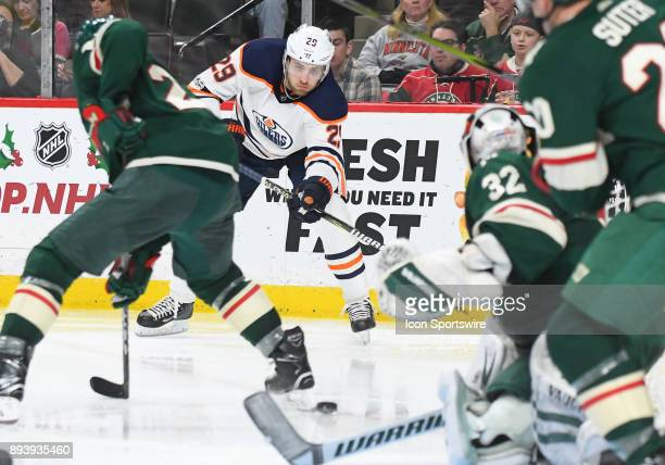 Edmonton Oilers Center Leon Draisaitl makes a centering pass during a NHL game between the Minnesota Wild and Edmonton Oilers on December 16 2017 at...