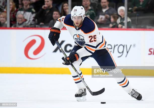 Edmonton Oilers Center Leon Draisaitl skates the puck up ice during a NHL game between the Minnesota Wild and Edmonton Oilers on December 16 2017 at...