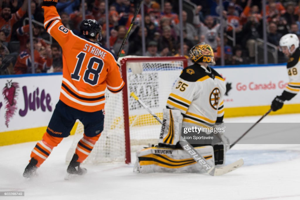 Edmonton Oilers Center Ryan Strome (18) scores a goal on Boston Bruins Goalie Anton Khudobin (35) during the Edmonton Oilers versus the Calgary Flames at Rogers Place on February 20, 2018 in Edmonton, Alberta.