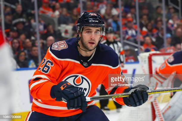 Edmonton Oilers Defenceman Brandon Manning in game action after scoring his first goal as an Oiler in the second period during the Edmonton Oilers...