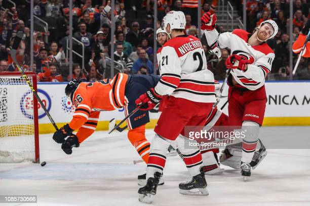 Edmonton Oilers Defenceman Brandon Manning scores his first goal as an Oiler in the first period during the Edmonton Oilers game versus the Carolina...