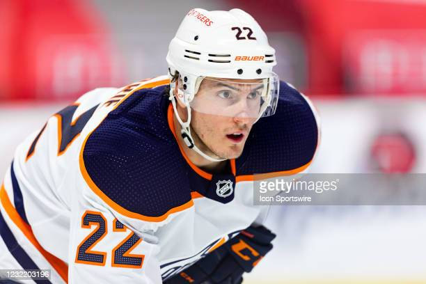 Edmonton Oilers Defenceman Tyson Barrie prepares for a face-off during second period National Hockey League action between the Edmonton Oilers and...