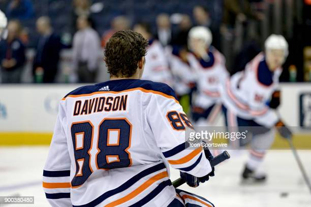 Edmonton Oilers defenseman Brandon Davidson warms up before a game between the Columbus Blue Jackets and the Edmonton Oilers on December 12 2017 at...