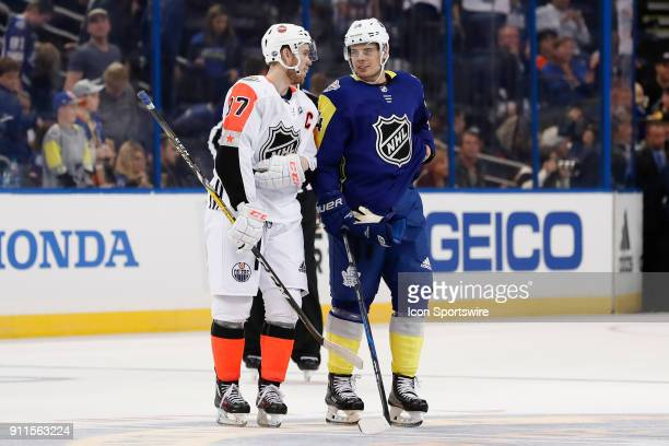 Edmonton Oilers forward Connor McDavid and Toronto Maple Leafs forward Auston Matthews talk during the 2018 NHL AllStar Game between the Pacific...
