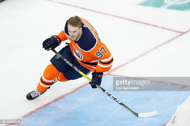 Edmonton Oilers forward Connor McDavid wins the Enterprise NHL Fastest Skater competition during the NHL AllStar Skills Competition on January 27...