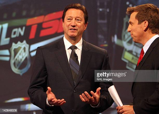 Edmonton Oilers General Manager Steve Tambellini answers questions from host James Duthie after the NHL Draft Lottery on April 10 2012 at the TSN...
