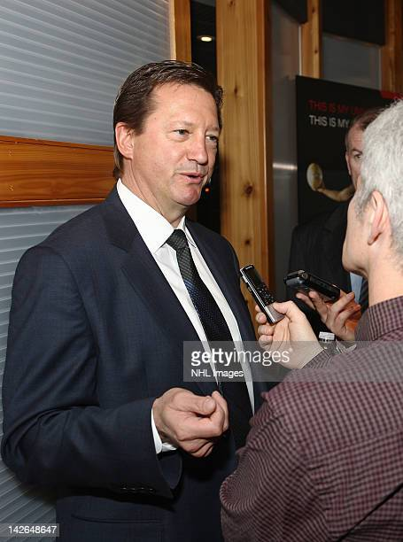 Edmonton Oilers General Manager Steve Tambellini answers questions following the NHL Draft Lottery on April 10 2012 at the TSN Studios in Toronto...