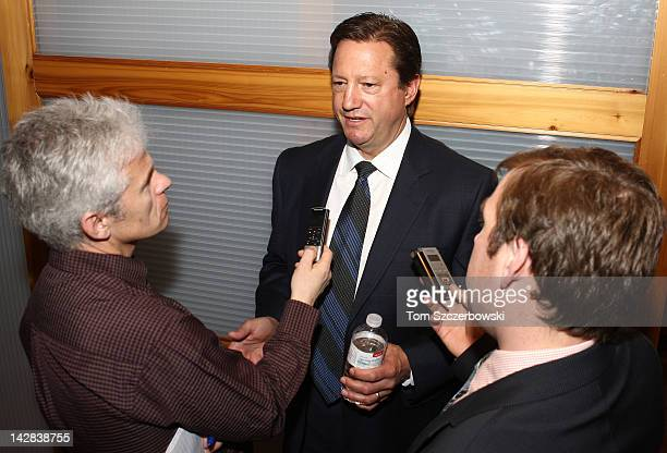 Edmonton Oilers General Manager Steve Tambellini answers questions from reporters following the NHL Draft Lottery where the Oilers won the first pick...