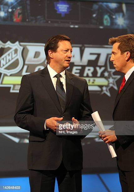 Edmonton Oilers General Manager Steve Tambellini talks to TSN host James Duthie following the NHL Draft Lottery on April 10 2012 at the TSN Studios...