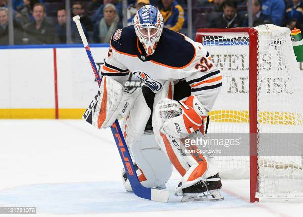 Edmonton Oilers goalie Anthony Stolarz during an NHL game between the Edmonton Oilers and the St Louis Blues on March 19 at Enterprise Center St...