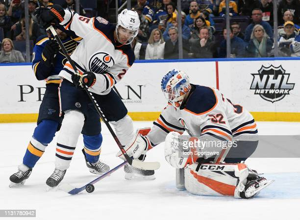 Edmonton Oilers goalie Anthony Stolarz gets ready to block a shot on goal during an NHL game between the Edmonton Oilers and the St Louis Blues on...