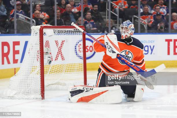 Edmonton Oilers Goalie Anthony Stolarz makes a blocker save in the second period during the Edmonton Oilers game versus the Toronto Maple Leafs on...