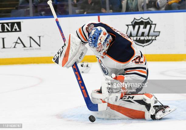 Edmonton Oilers goalie Anthony Stolarz makes a stick save in the third period during an NHL game between the Edmonton Oilers and the St Louis Blues...