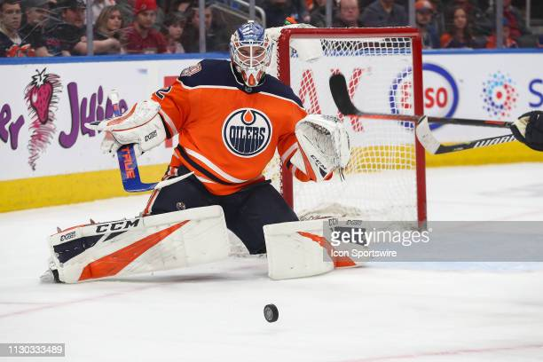 Edmonton Oilers Goalie Anthony Stolarz out of position but still makes a save in the second period during the Edmonton Oilers game versus the New...