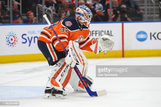 Edmonton Oilers Goalie Anthony Stolarz sets for a shot in the second period during the Edmonton Oilers game versus the New Jersey Devils on March 13...