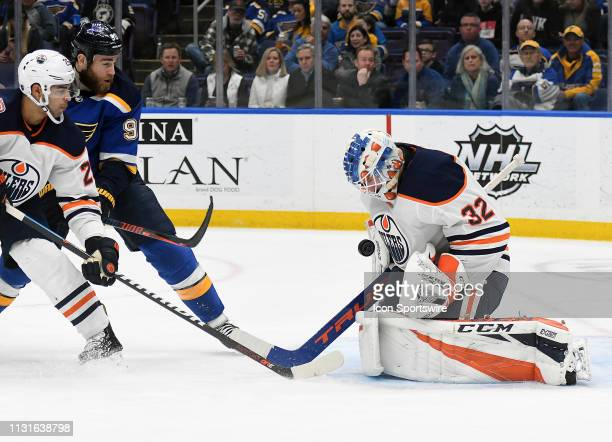Edmonton Oilers goalie Anthony Stolarz stops a shot on goal during an NHL game between the Edmonton Oilers and the St Louis Blues on March 19 at...