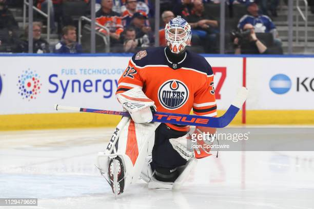 Edmonton Oilers Goalie Anthony Stolarz stretches in the second period during the Edmonton Oilers game versus the Toronto Maple Leafs on March 9 2019...