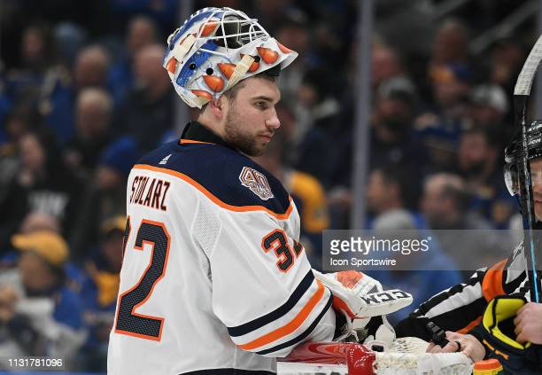 Edmonton Oilers goalie Anthony Stolarz takes a break during an NHL game between the Edmonton Oilers and the St Louis Blues on March 19 at Enterprise...