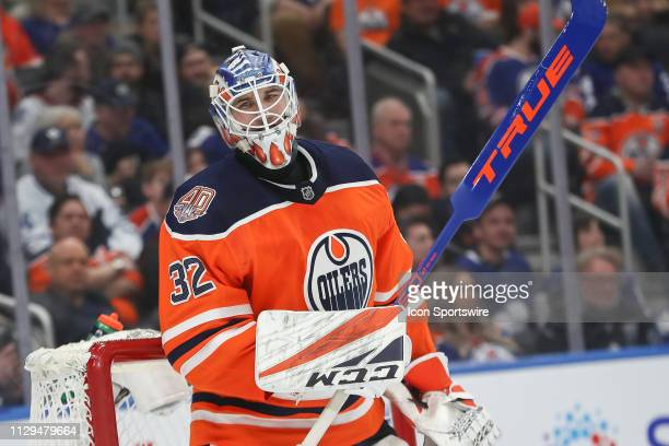 Edmonton Oilers Goalie Anthony Stolarz talking to his defence man in the second period during the Edmonton Oilers game versus the Toronto Maple Leafs...