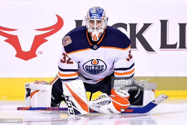 Edmonton Oilers Goalie Anthony Stolarz warms up before an NHL game where the Calgary Flames hosted the Edmonton Oilers on April 6 at the Scotiabank...