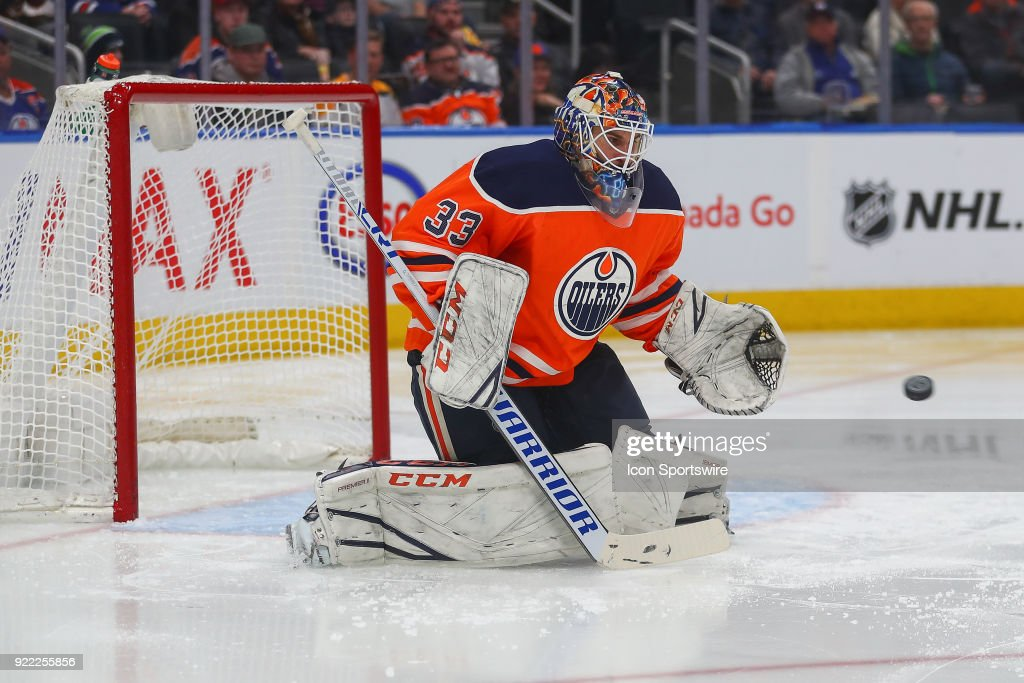 Edmonton Oilers Goalie Cam Talbot (33) makes a pad save during the Edmonton Oilers versus the Calgary Flames at Rogers Place on February 20, 2018 in Edmonton, Alberta.