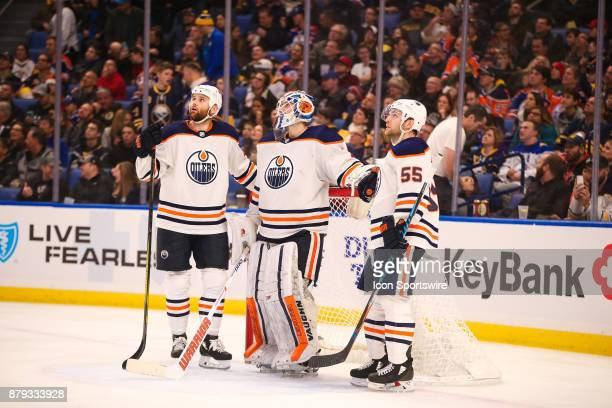 Edmonton Oilers goalie Laurent Brossoit Edmonton Oilers center Mark Letestu and Edmonton Oilers right wing Jesse Puljujarvi watch the video reply...