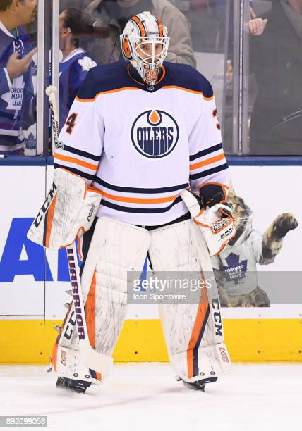 Edmonton Oilers goalie Nick Ellis during the warm up before a game between the Edmonton Oilers and the Toronto Maple Leafs at Air Canada in Toronto...