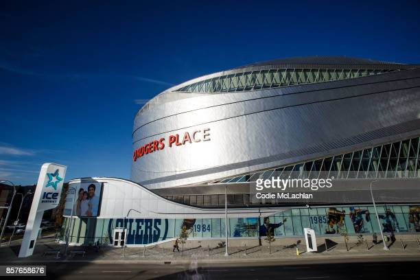Edmonton Oilers' home arena Rogers Place is seen from the exterior ahead of the home opener against the Calgary Flames on October 4 2017 in Edmonton...