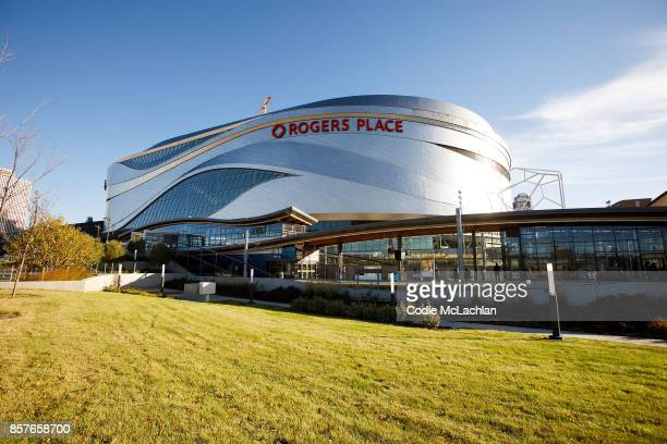 Edmonton Oilers' home arena Rogers Place is seen from the exterior ahead of the home opener against the Calgary Flames on October 4, 2017 in...
