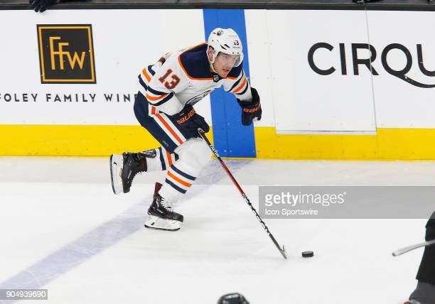 Edmonton Oilers left wing Michael Cammalleri moves the puck during the third period of a regular season NHL game between the Edmonton Oilers and the...