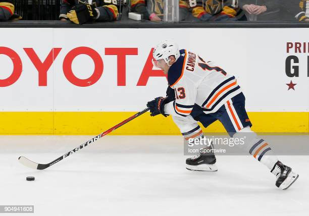 Edmonton Oilers left wing Michael Cammalleri moves the puck during the second period of a regular season NHL game between the Edmonton Oilers and the...