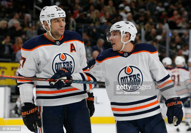 Edmonton Oilers left wing Michael Cammalleri talks to Edmonton Oilers left wing Milan Lucic during the second period of a regular season NHL game...