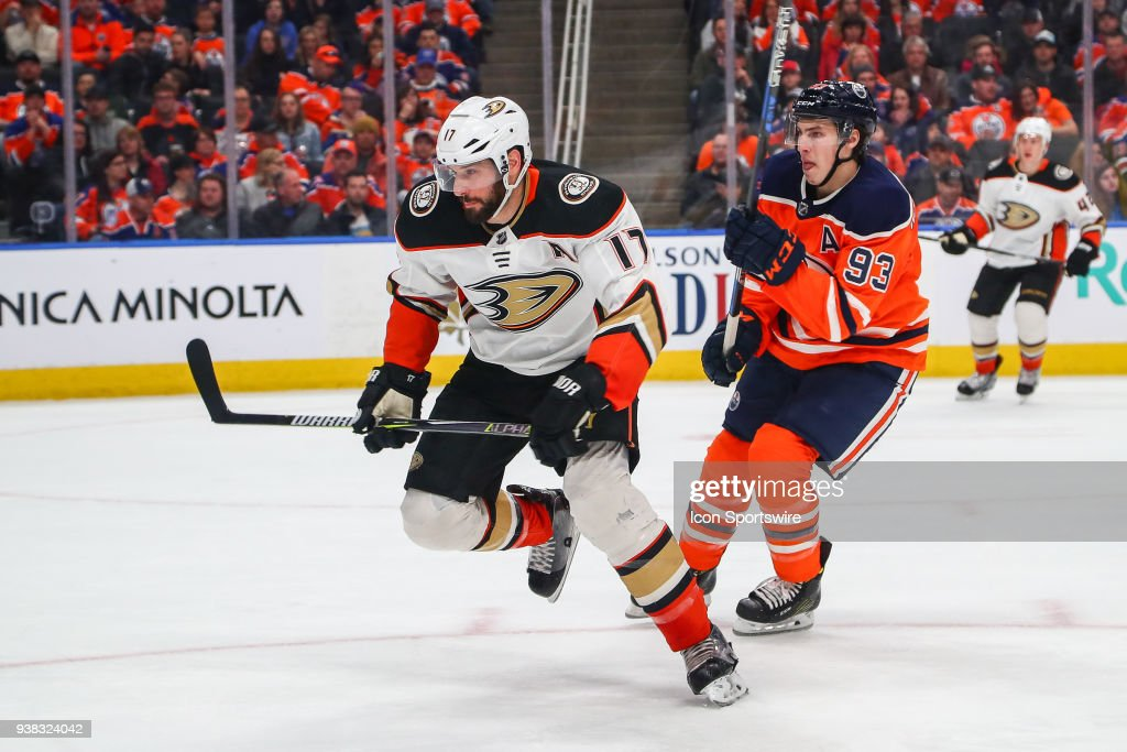 save off 78454 f256d Edmonton Oilers Left Wing Ryan Nugent-Hopkins and Anaheim ...