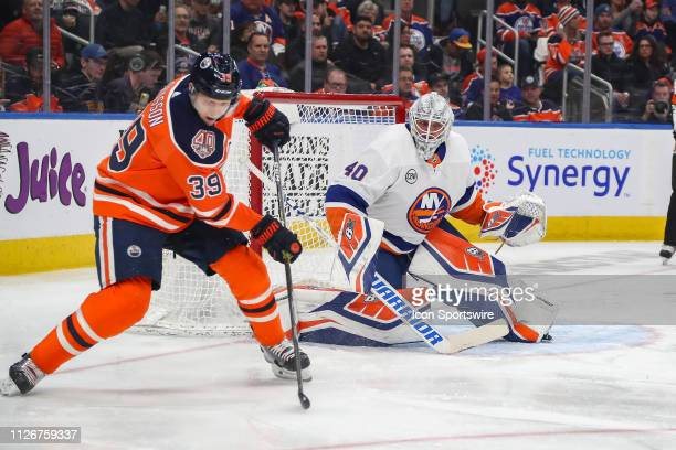 Edmonton Oilers Right Wing Alex Chiasson about to shoot the puck on New York Islanders Goalie Robin Lehner in the first period during the Edmonton...