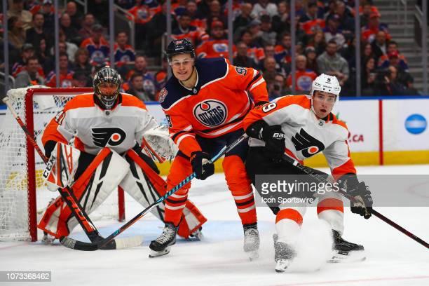 Edmonton Oilers Right Wing Jesse Puljujarvi battles in front of Philadelphia Flyers Goalie Anthony Stolarz during the Edmonton Oilers game versus the...