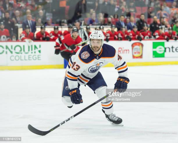 Edmonton Oilers Right Wing Josh Currie skates during the first period of the NHL game between the Ottawa Senators and the Edmonton Oilers on Feb 28...