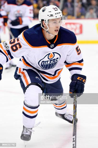 Edmonton Oilers Right Wing Kailer Yamamoto forechecks during the second period in the NHL game between the Pittsburgh Penguins and the Edmonton...